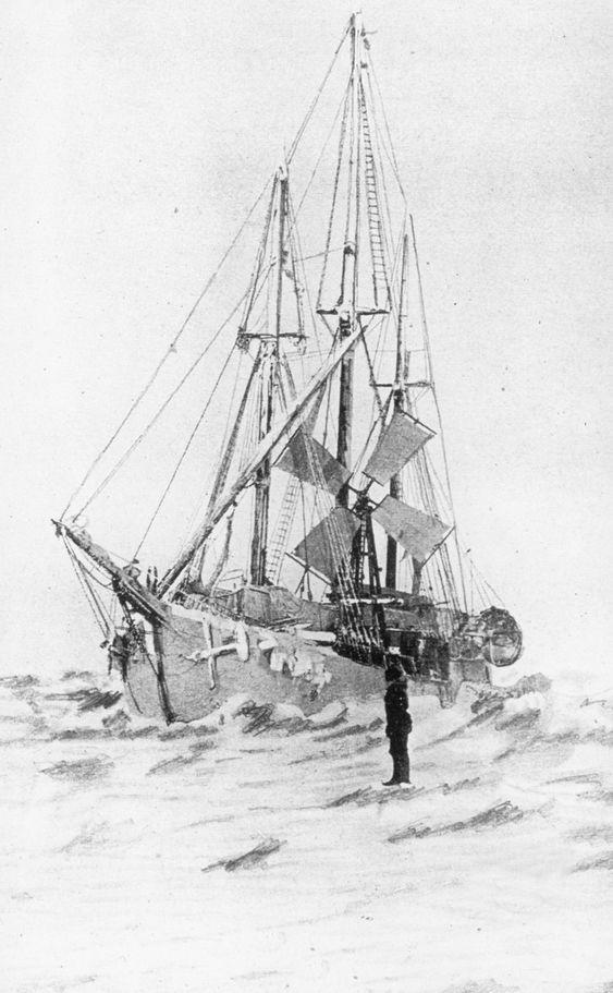 Polarskuta Fram og Nansens vindmølle som skaffet elektrisk lys ombord. Bildet skal være tatt i 1894 under Frams første ferd i Polhavet.