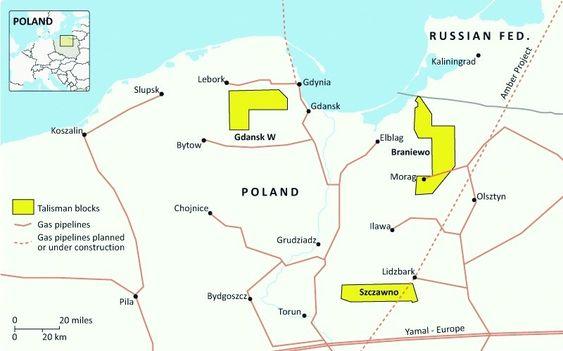 AMBER STREAM: Skifergassreservene ligger strategisk nær den planlagte Amber Stream. (Kart: PGNiG).