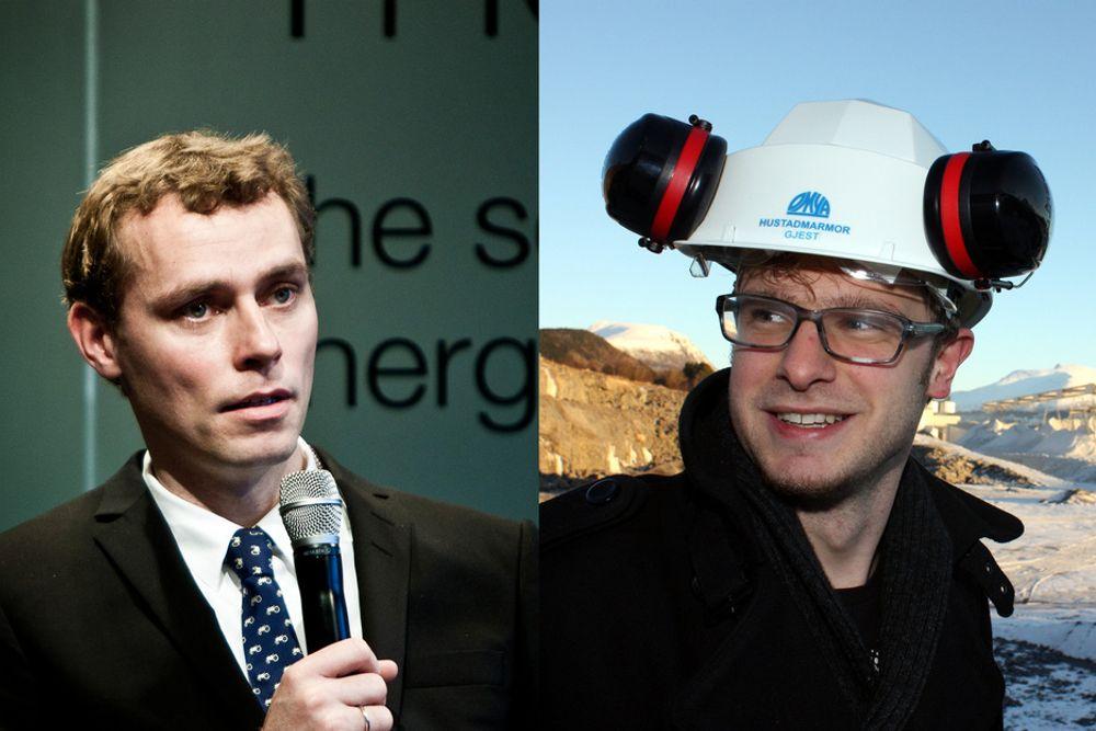 SVs Snorre Valen (t.h.) mener olje- og energiminister Ola Borten Moe går mot sin egen oljemelding med uttalelsene i DN denne uken.