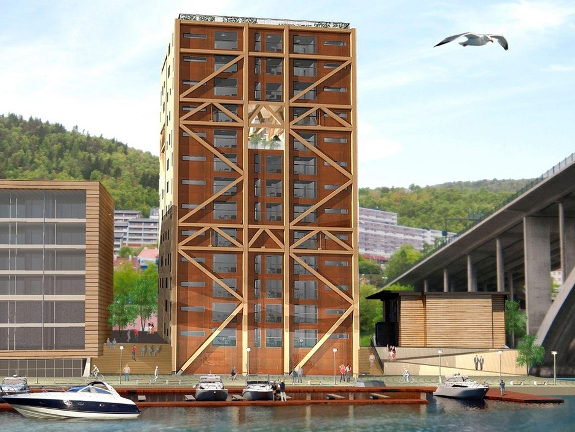 REKORD: Slik kan rekordhuset bli seende ut, men foreløpig er ikke endelig design ferdigstilt. Det bærende fagverket får en sentral plass i byggets design.