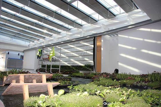 """KASETTER: Plantene kommer i ferdige kasetter som hektes på veggen og festes med fire skruer. Her ligger """"veggen""""  klar på gulevet og venter på montering."""