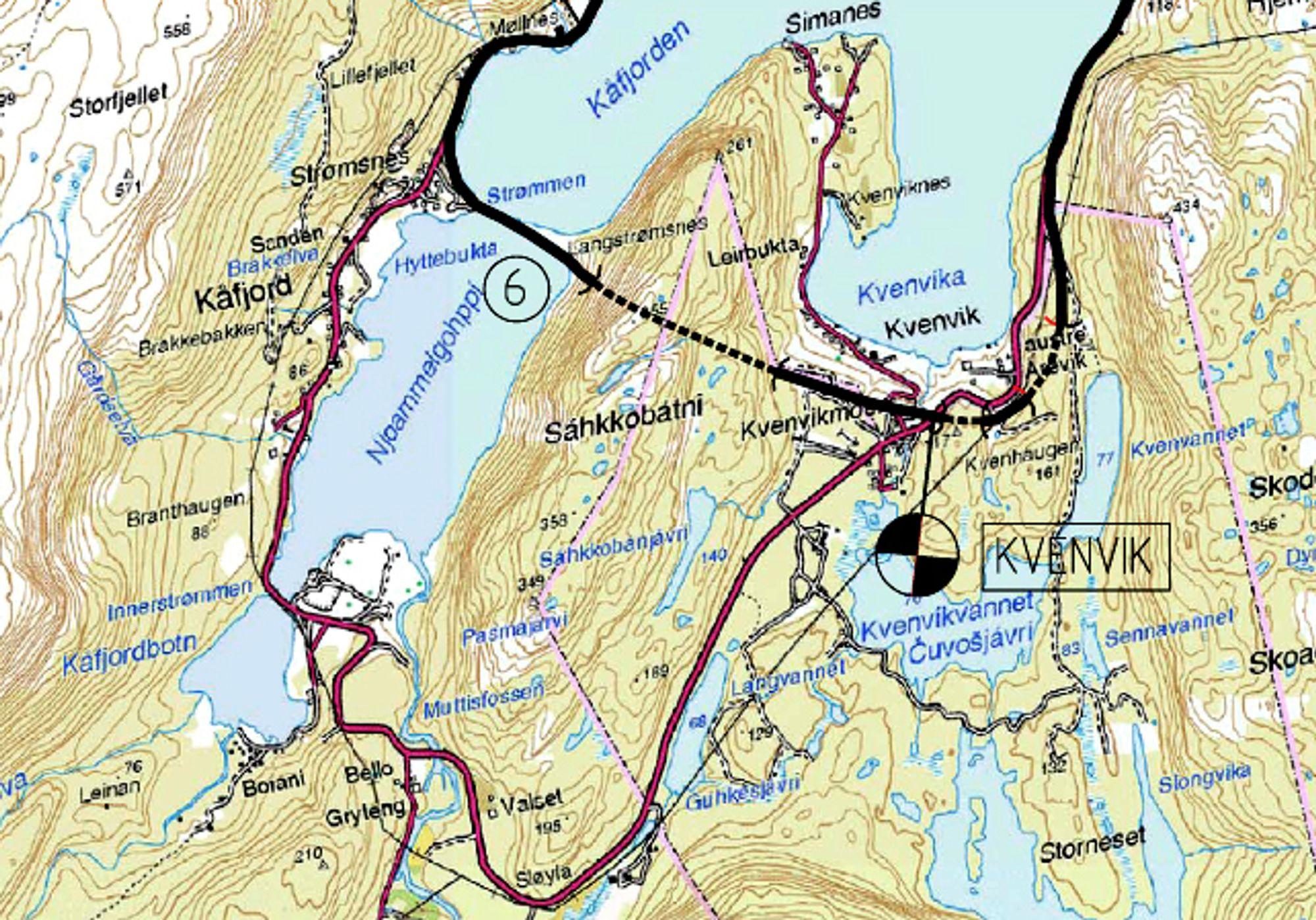Tunnelene og de tre korte bruene skal bygges øst for brua over Kåfjorden til venstre på kartet. 29. og 31. mars er datoene å merke seg.
