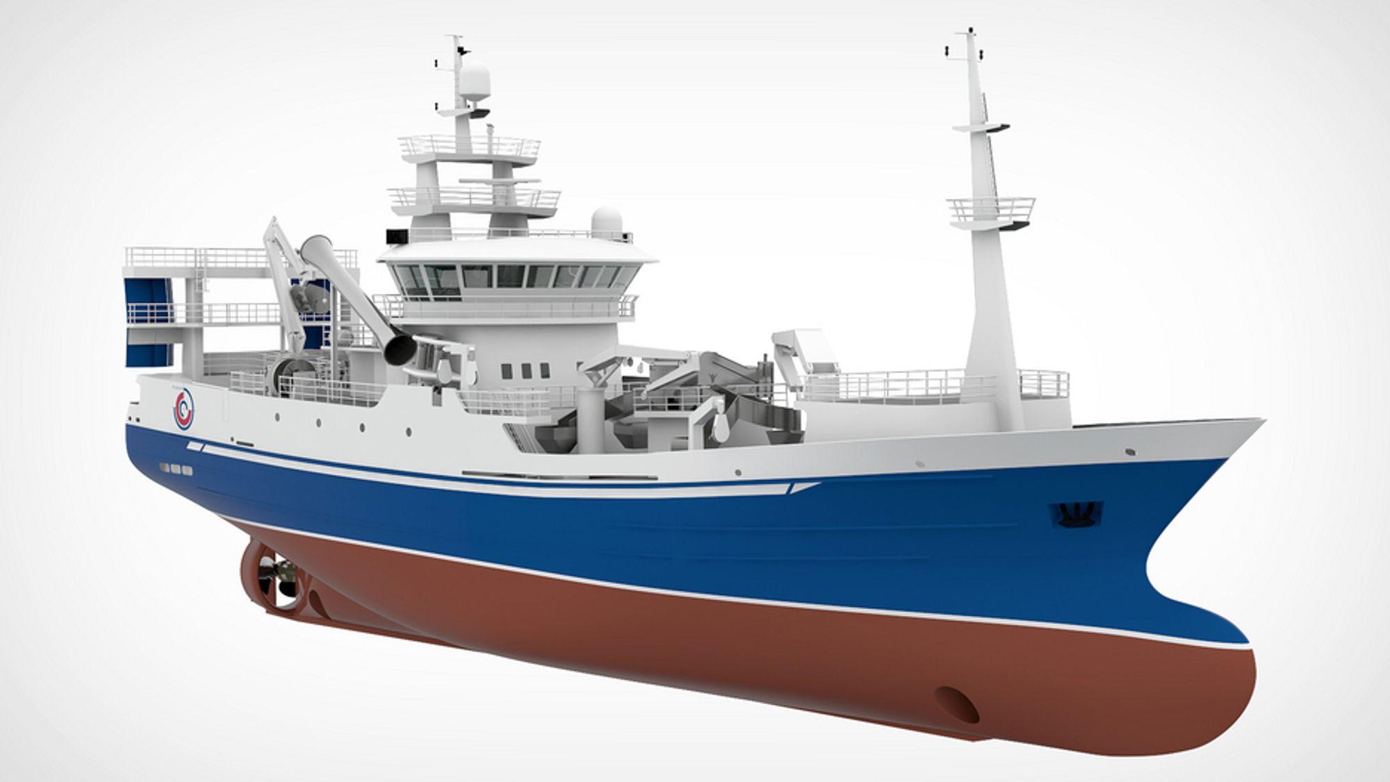 MILJØFISKER:Liegruppen står bak bestillingen av et nyttfiskefartøy. Wärtsilä leverer design og mye utstyr til det 64 meter lange fartøyet. Miljøhensyn spiller en viktig rolle i designen VS 6106.