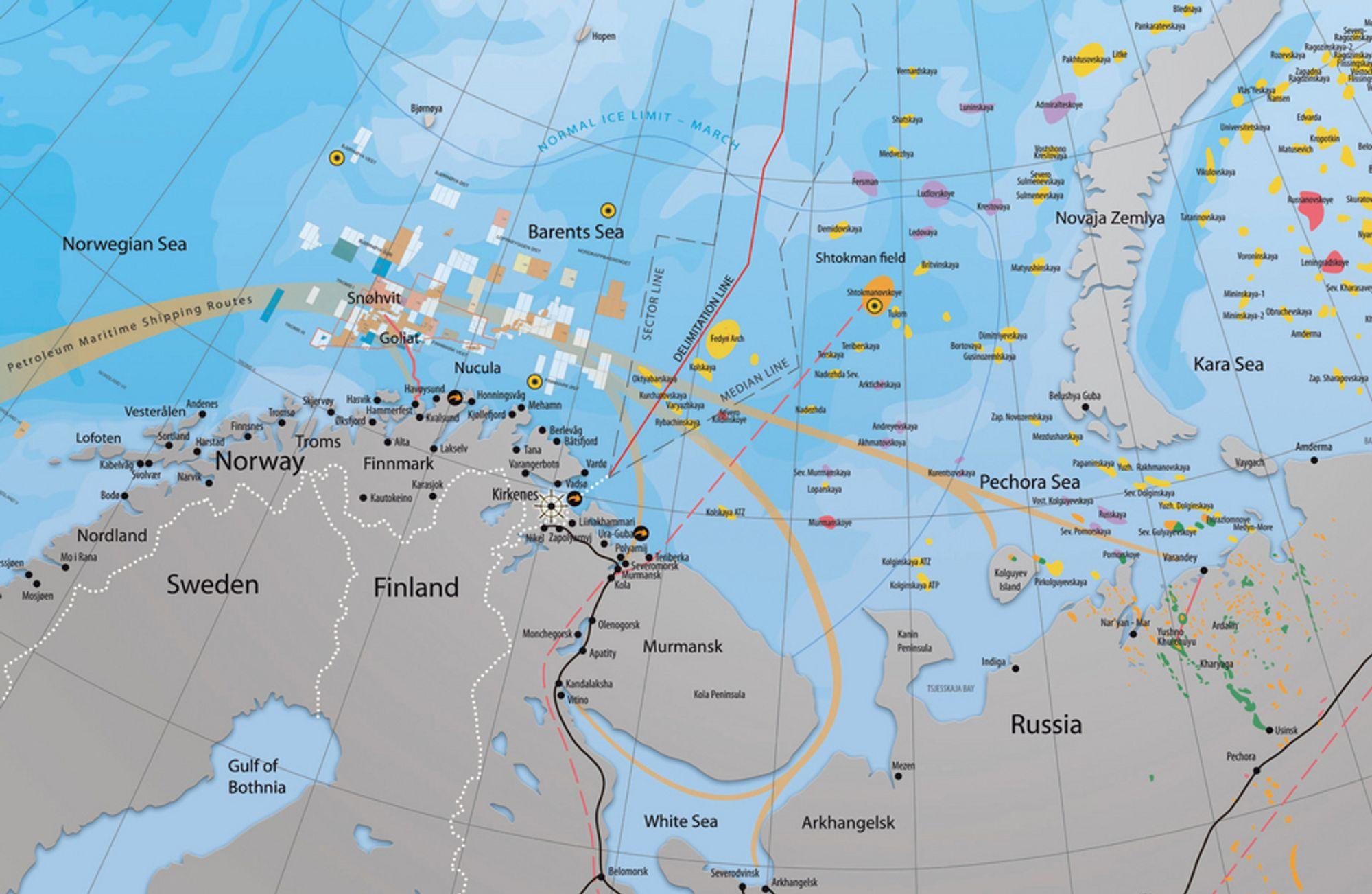 Slik blir de områdene delt mellom Norge og Russland.