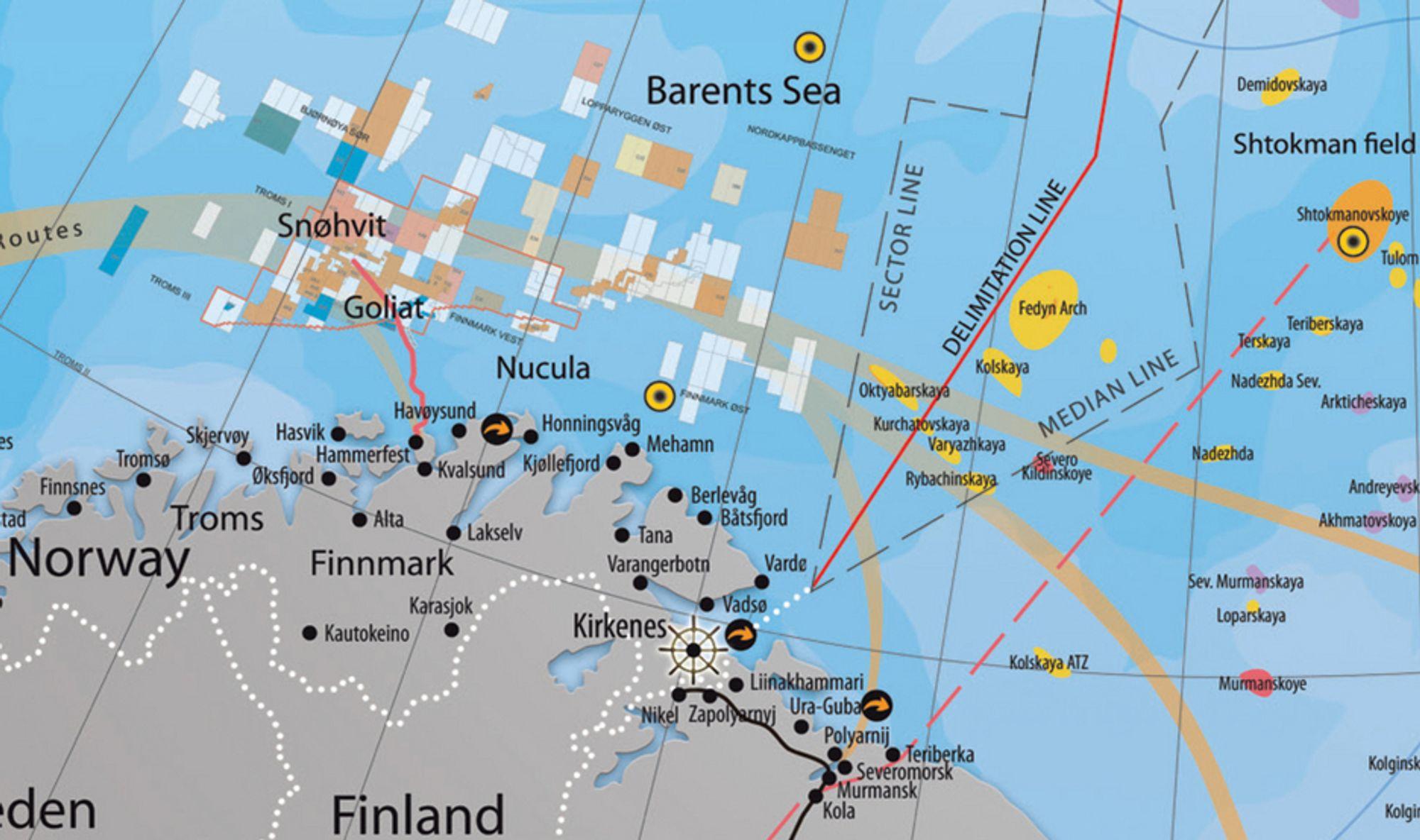 Her går den nye delelinjen mellom Russland og Norge.