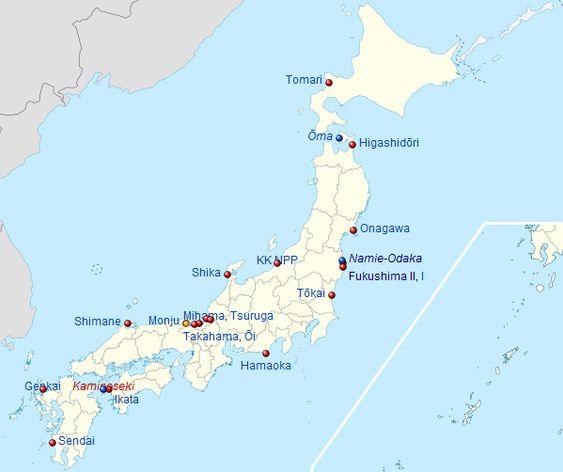 Det er tilsammen 55 aktive reaktorer ved disse kjernekraftverkene i Japan. Kjernekraftverk med rød prikk er operative. Gul prikk betyr at de ikke har produksjon, og blå prikk viser nye kjernekraftverk under planlegging.