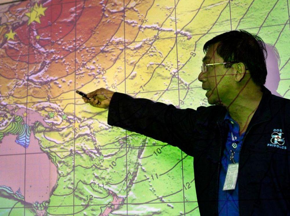 VARSEL: Det jobbes på spreng med å gi korrekte varsler for de andre landområdene etter jordskjelvet utenfor Japan, som har skapt en kraftig tsunami. Her fra Philippines Institute of Volcanology and Seismology.