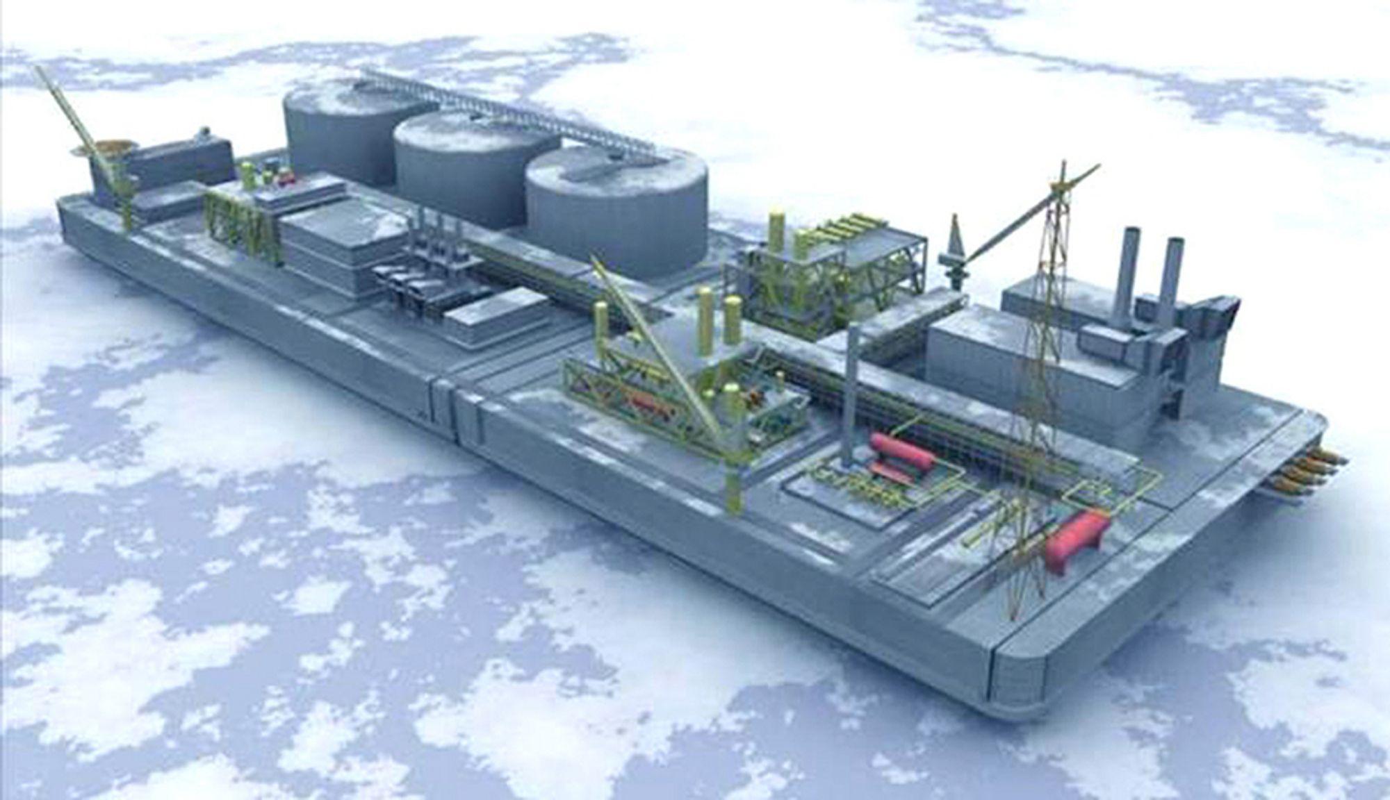 NYHET: Kværner utvikler et bunnfast LNG-anlegg i betong for arktiske strøk. Anlegget bygges opp av moduler som fløtes på plass og kobles med flere moduler til komplett alegg.