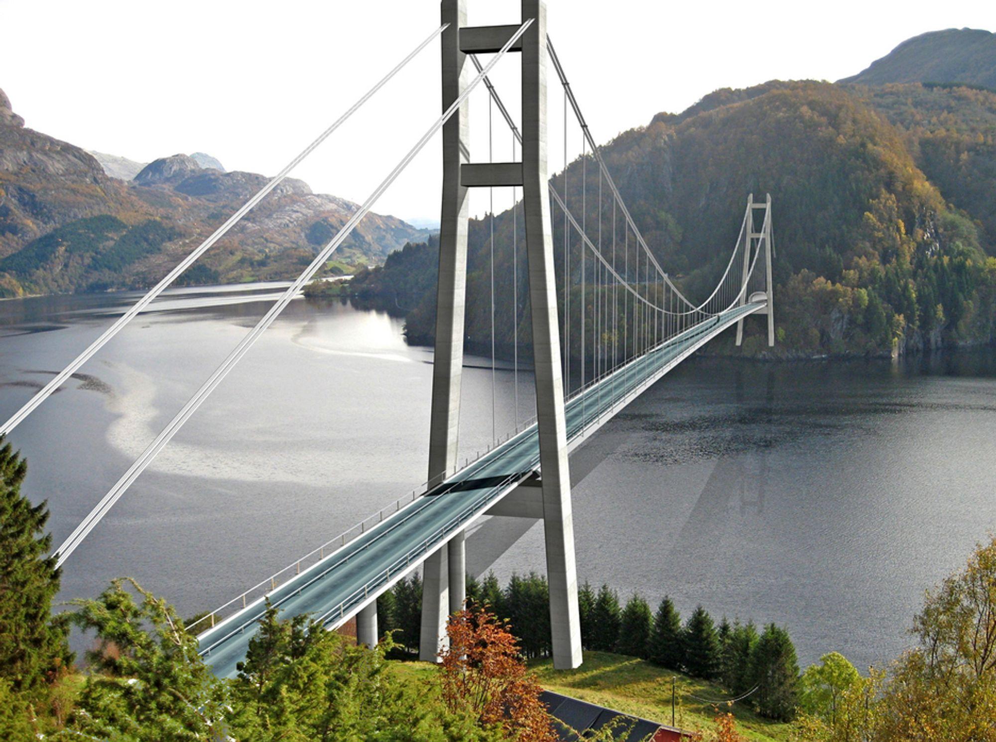 Det meste av elektroarbeidet på Dalsfjordsambandet skal utføres i tunnelene. På hengebrua skal det monteres master, lysarmaturer og seilingslys. Ill.: Statens vegvesen