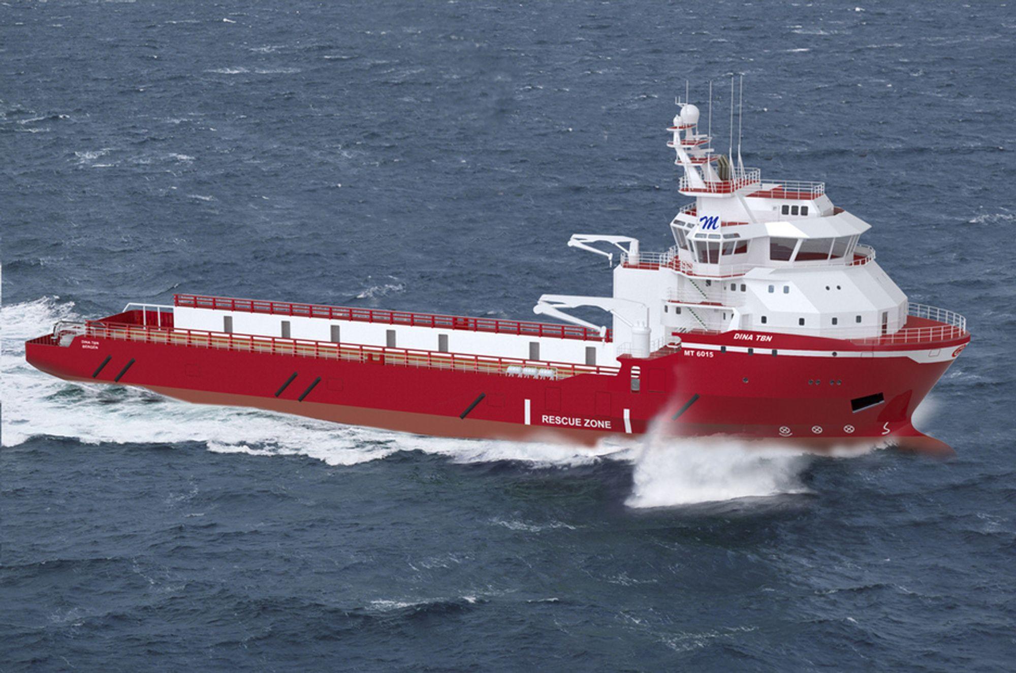 BREDT BRUKSOMRÅDE: Myklebusthaug Offshore har  bestilt et flerbruks forsyningsskip med isklasse ICE 1B fra Kleven Maritime. Design: MT 6015 MPSV fra Marin Teknikk.