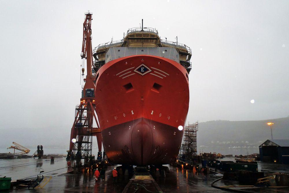 RUSKEVÆR: Viking Prince ble sjøsatt fra beddingen ved Kleven Verft i helgen.