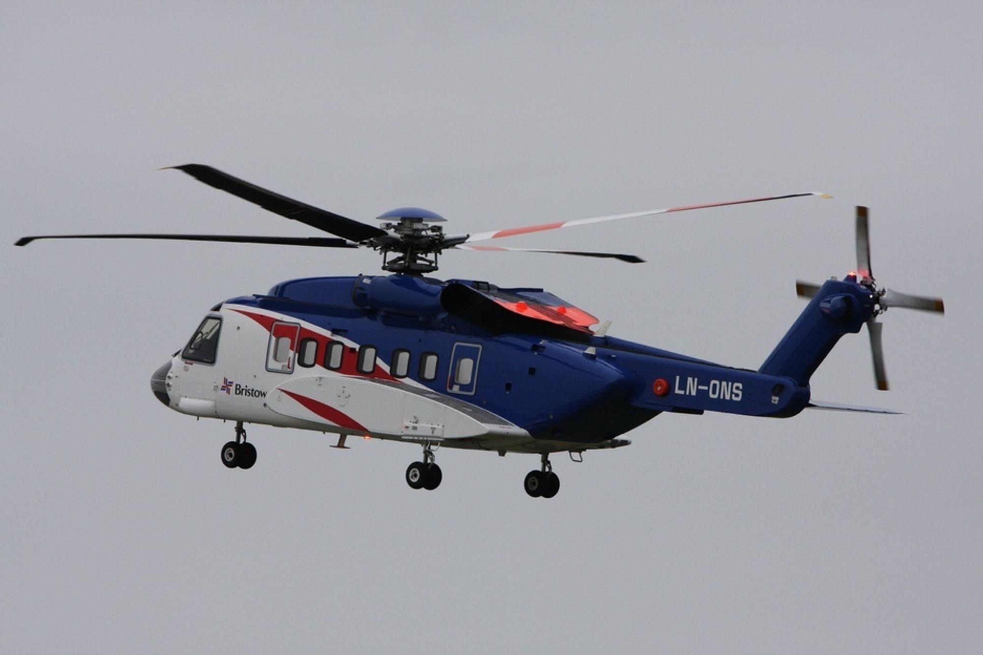 Det var helikopter av denne typen, en Sikorsky S-92A fra Bristow Norway, som tirsdag fikk motorproblemer på vei ut fra Sola. Det var 15 passasjerer og to flygere om bord.