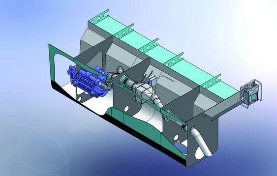 LETT: Det gamle, tunge eksosanlegget rives ut og et lettere anlegg med NOx-rensing settes inn. Flere hundre kilo lettere skip betyr mange liter drivstoff spart i tillegg til renere luft.