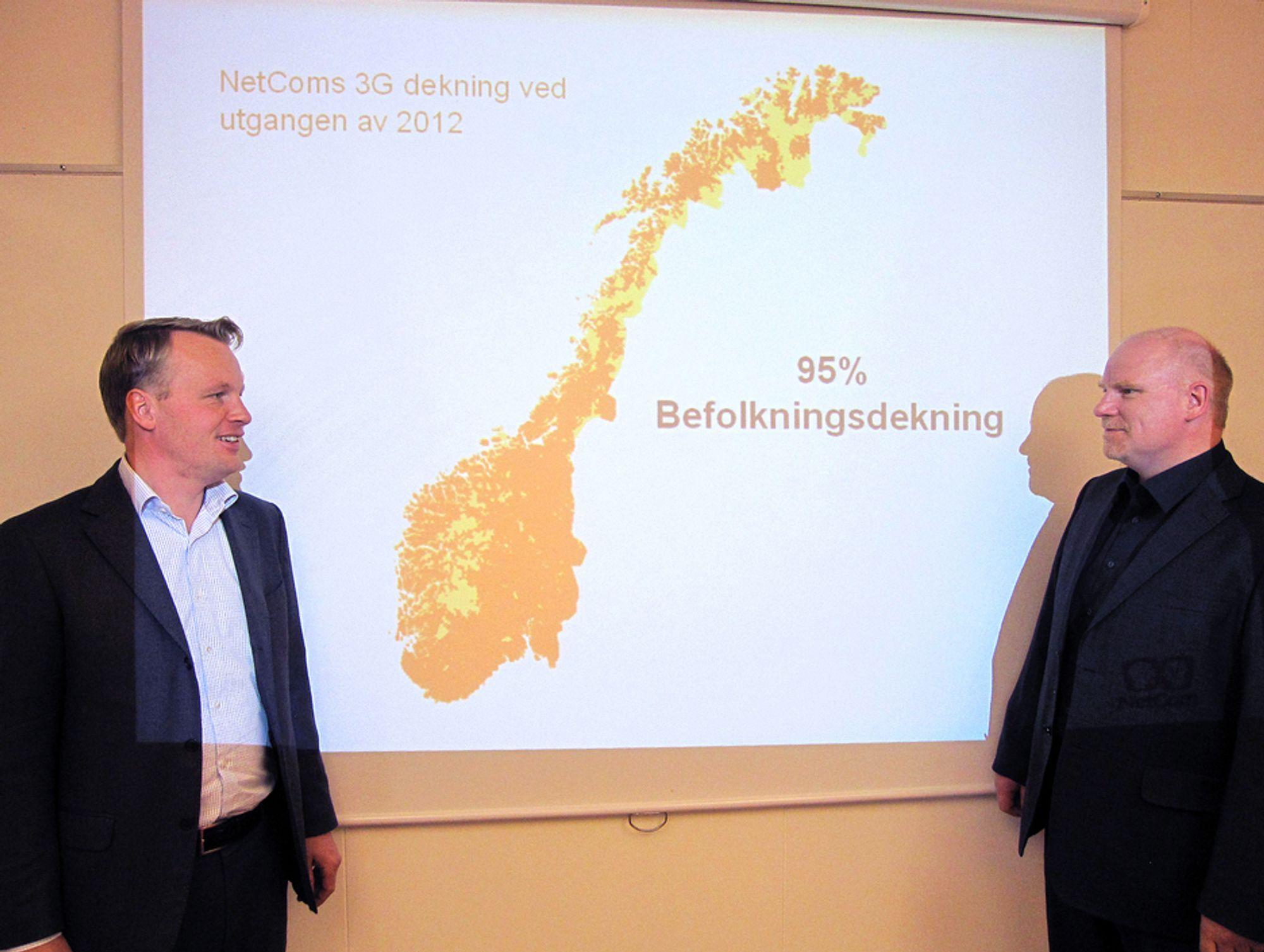 ØKER KAPASITETEN: Teknisk direktør Jon Christian Hillestad og dekningssjef Tommy Skogheim Johansen i Netcom lover et flunkende nytt multibånd mobilnett fra tidlig neste år og frem til slutten av 2012.