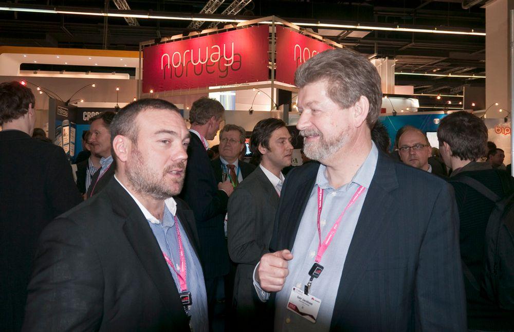 GODT FORNØYD: Både Fredrik Syversen i IKT Norge og og Geir Jacobsen i Innovasjon Norge er svært godt fornøyd med årets messe.