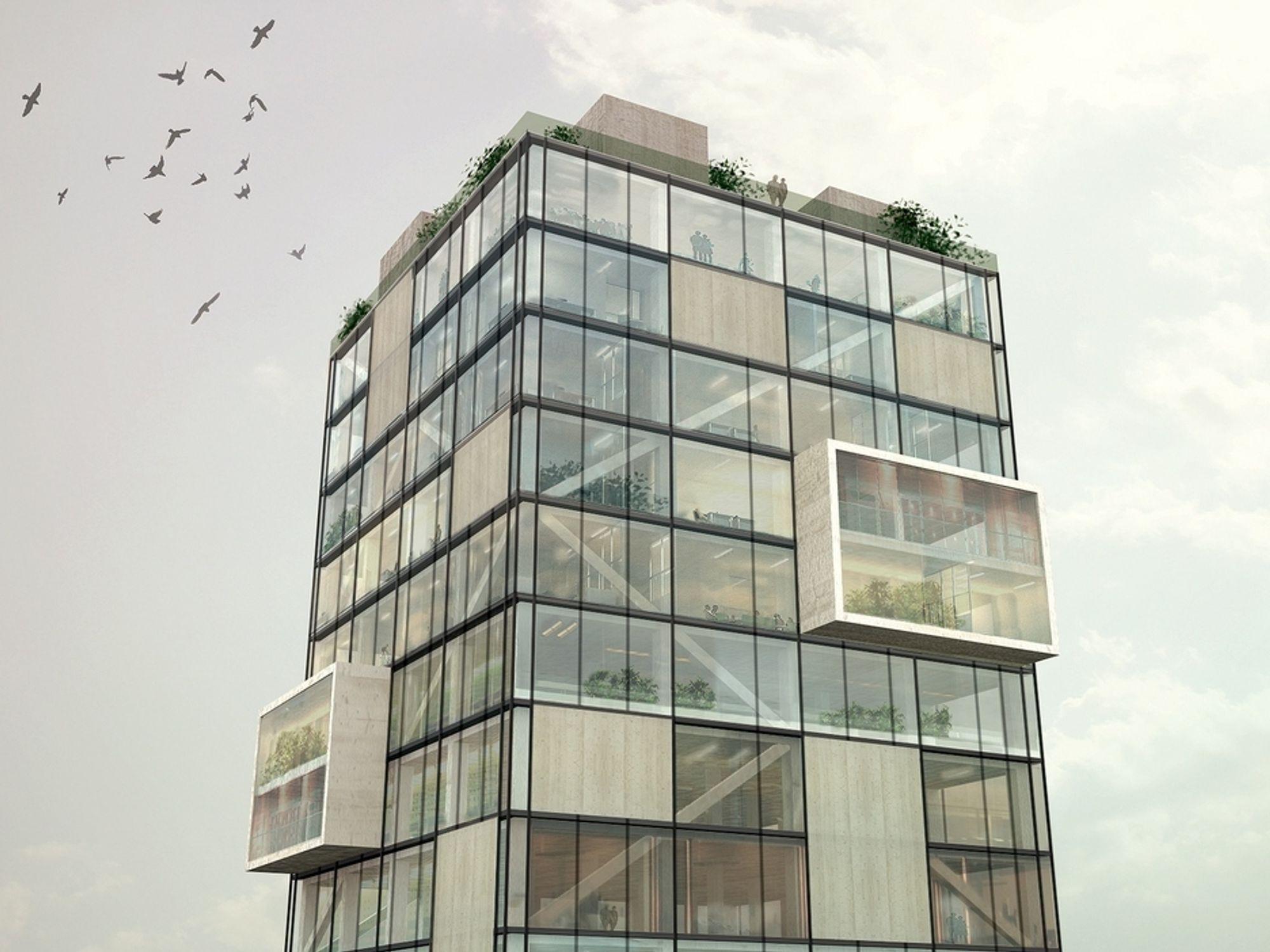 VERDENS HØYESTE: Denne animasjonen viser hvordan verdens høyeste trebygg vil arte seg, med en kombinasjon av glass og massivtre i fasadene.