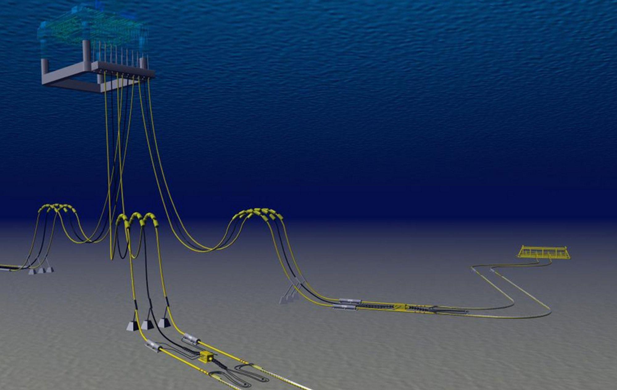 Rørledninger med installert system for direkte elektrisk oppvarming (DEH). Forsyningskablene (sorte) går parallelt med riserne (gule) og er tilkoblet DEH-kablene ved sjøbunnen.