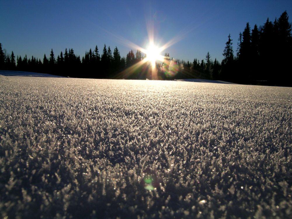 FÅR SKYLDA: Den kalde vinteren i store deler av landet bidrar sterkt til den relativt lave temperaturen. Årets vinter var den ellevte kaldeste siden år 1900 for landet som helhet.