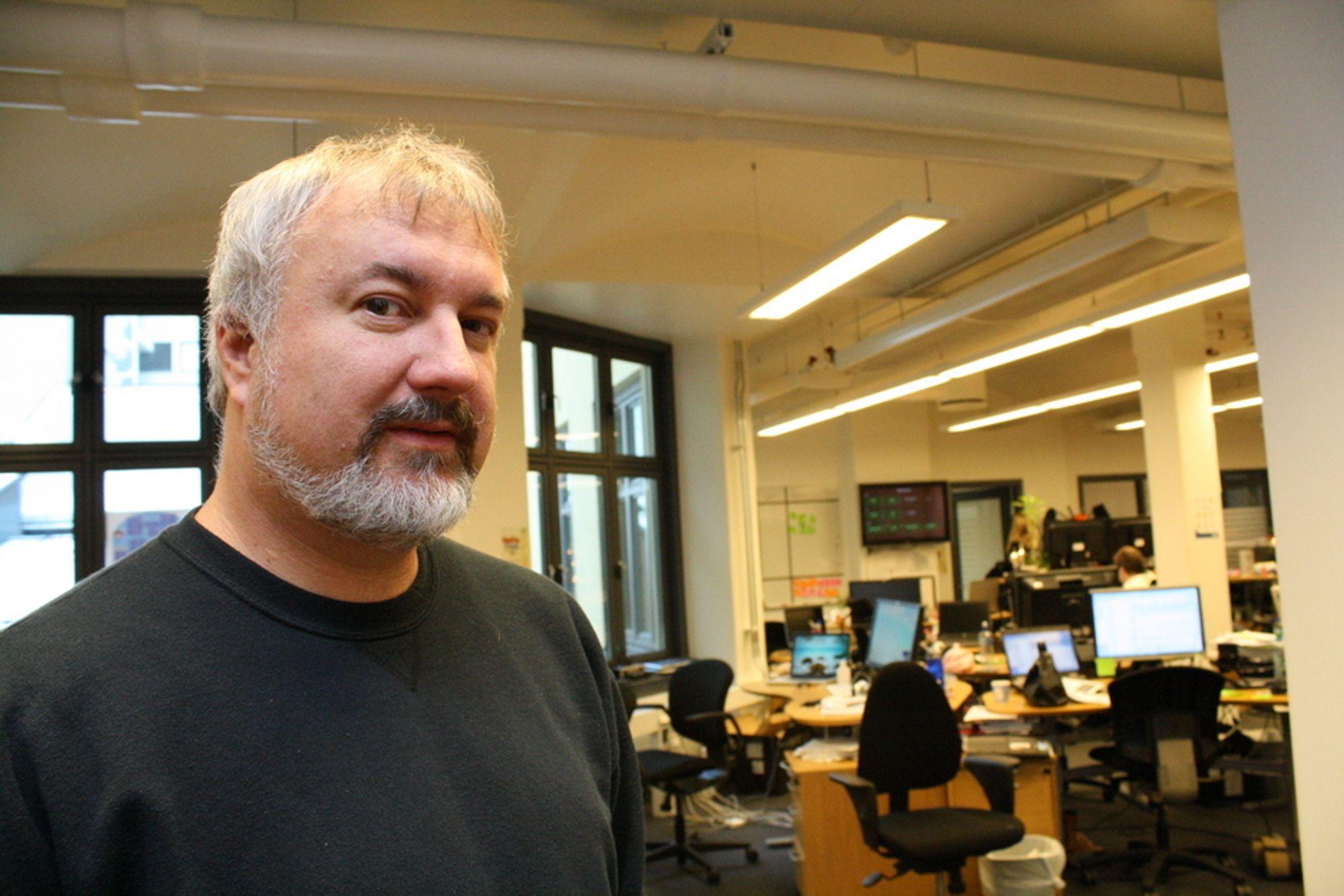 GURUEN: Den amerikanske softwarelegenden Michael Feathers har tilbrakt to uker i Norge, blant annet her hos Finn.no.