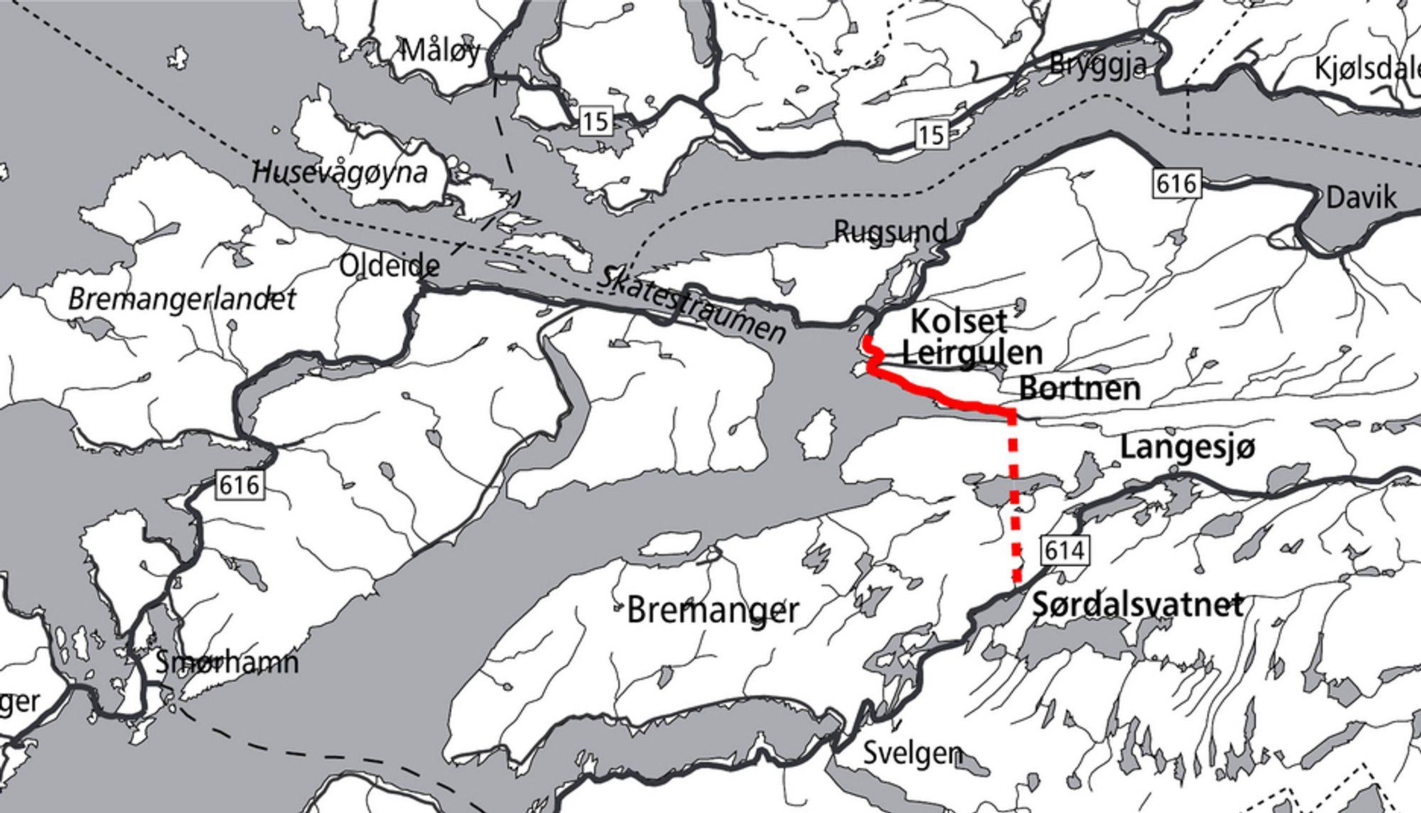 Andre etappe på Brandangersambandet er markert med rødt. Mesta ligger godt an til å få oppdraget