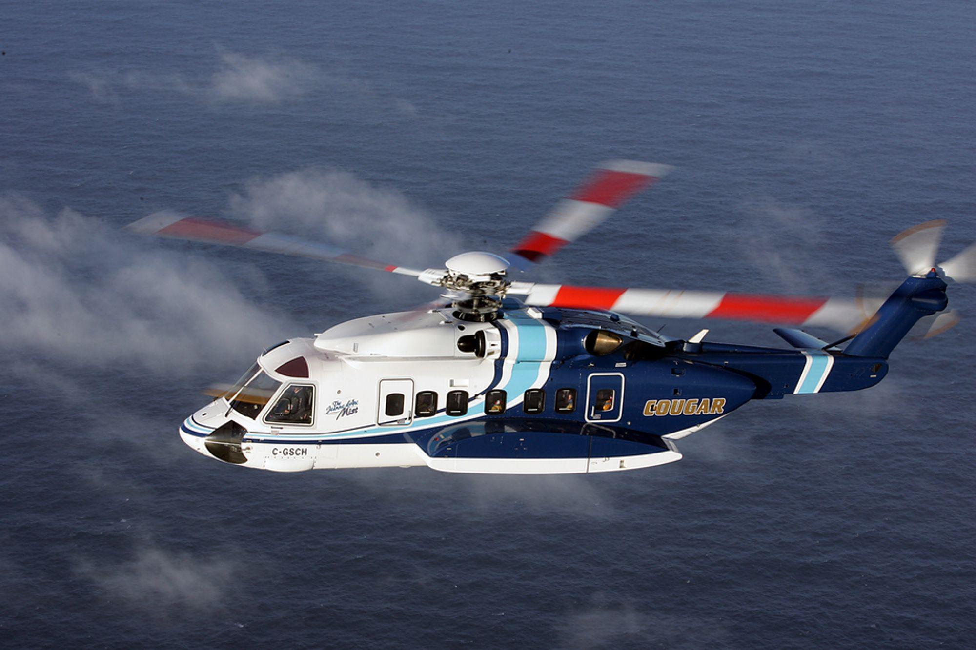 Det var en slik S-92-maskin fra Cougar Helicopters som styrtet i Atlanterhavet i mars i fjor.
