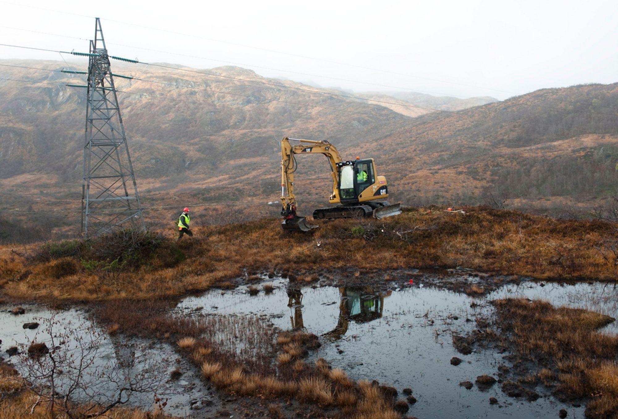 KLART FOR LUFTSPENN: Anleggsarbeidene er nå godt i gang på Kvamskogen i Hardanger.