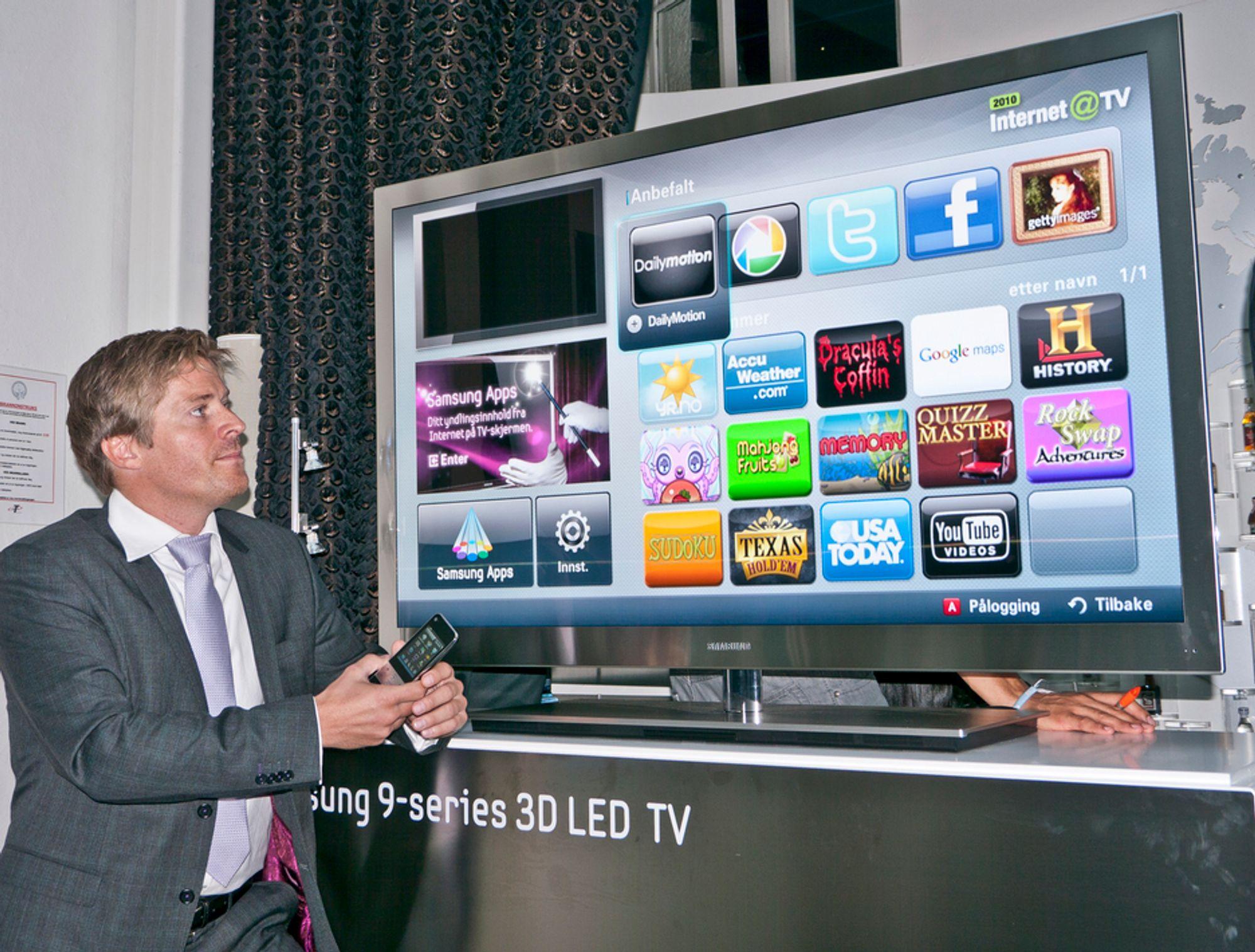 INTERNETT-TVI vår nye 9-serie har vil lagt inn alt vi har av teknologi fra 3D til mediedeling og Internett, sier produktsjef i Samsung Norge Pål Jansen.
