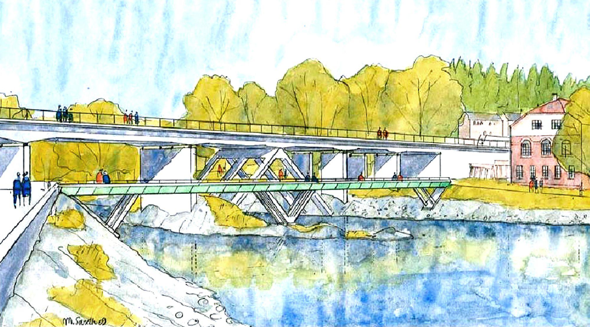 Den største brua, som krysser hovedløpet i Begna like nedenfor Hønefossen, blir 55 meter lang.