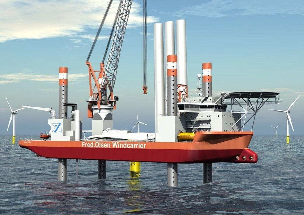 BREDROMPA: Med en bredde på nesten 40 meter og lengde på 130, er Windcarrieren en solid arbeidsplatform for de ansatte.