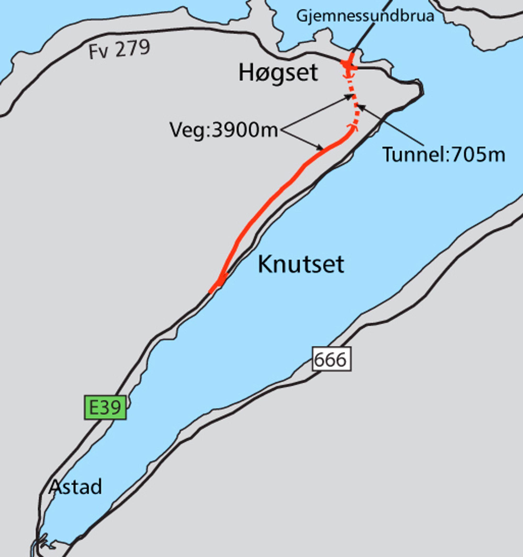 Dette kartet er basert på den opprinnelige planen for delprosjektet. Hvis Stortinget vedtar forlengelse, vil den røde linjen som markerer ny E 39, bli forlenget sørover.