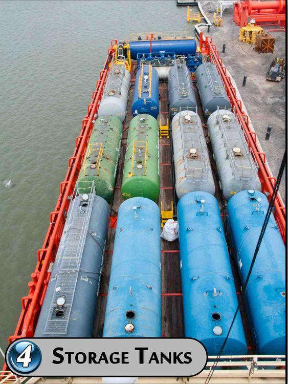 TRINN FIRE: Etterseparasjon lagres olje i tanker om bord på skipet. Oljen kan pumpes over i andre skip eller lektere.