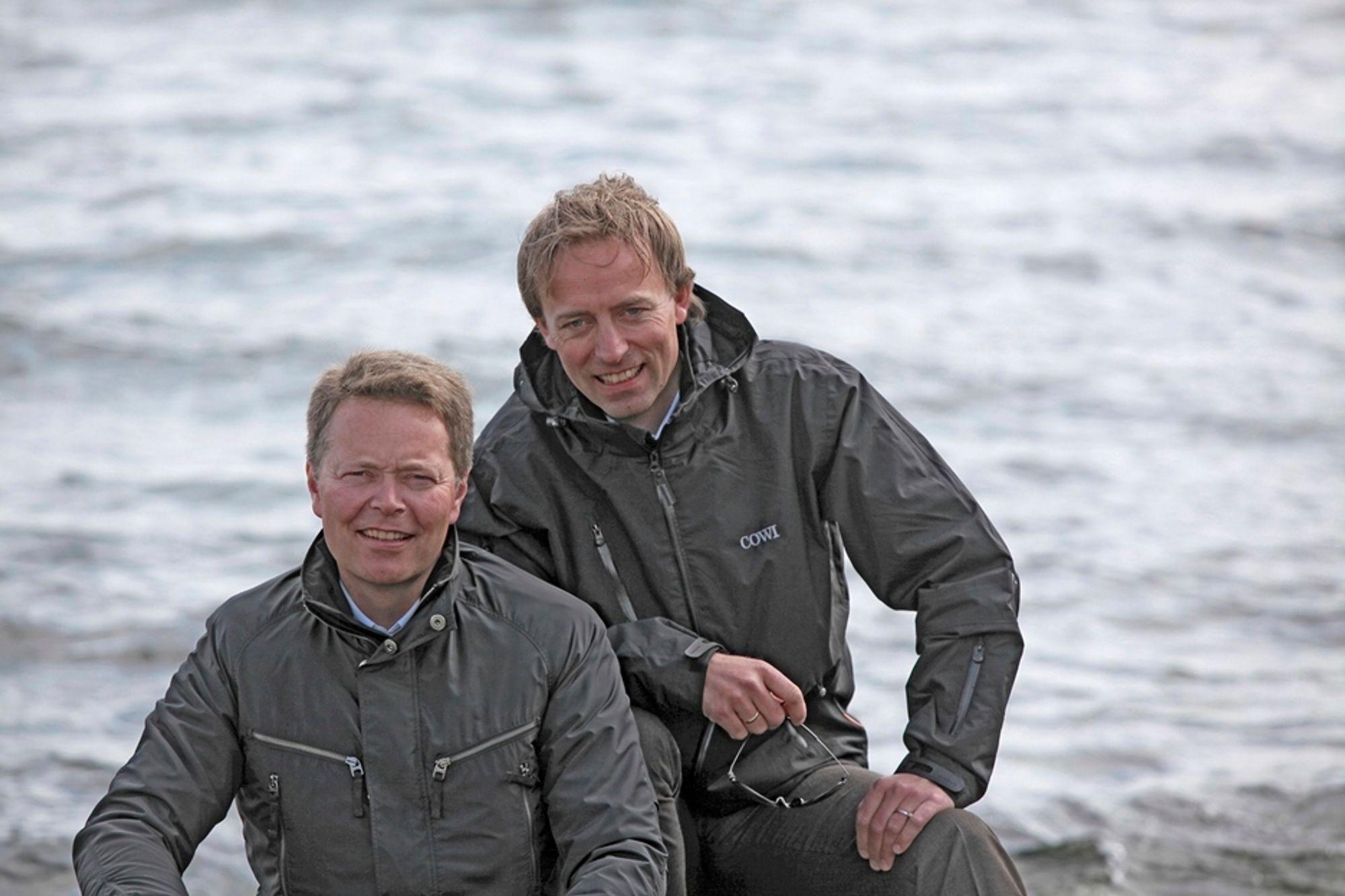 SKIFTE:Christian Nørgaard Madsen, til venstre, forlater Cowi, og Terje Bygland Nicolaisen blir inntil videre konstituert i stillingen som konsernsjef.