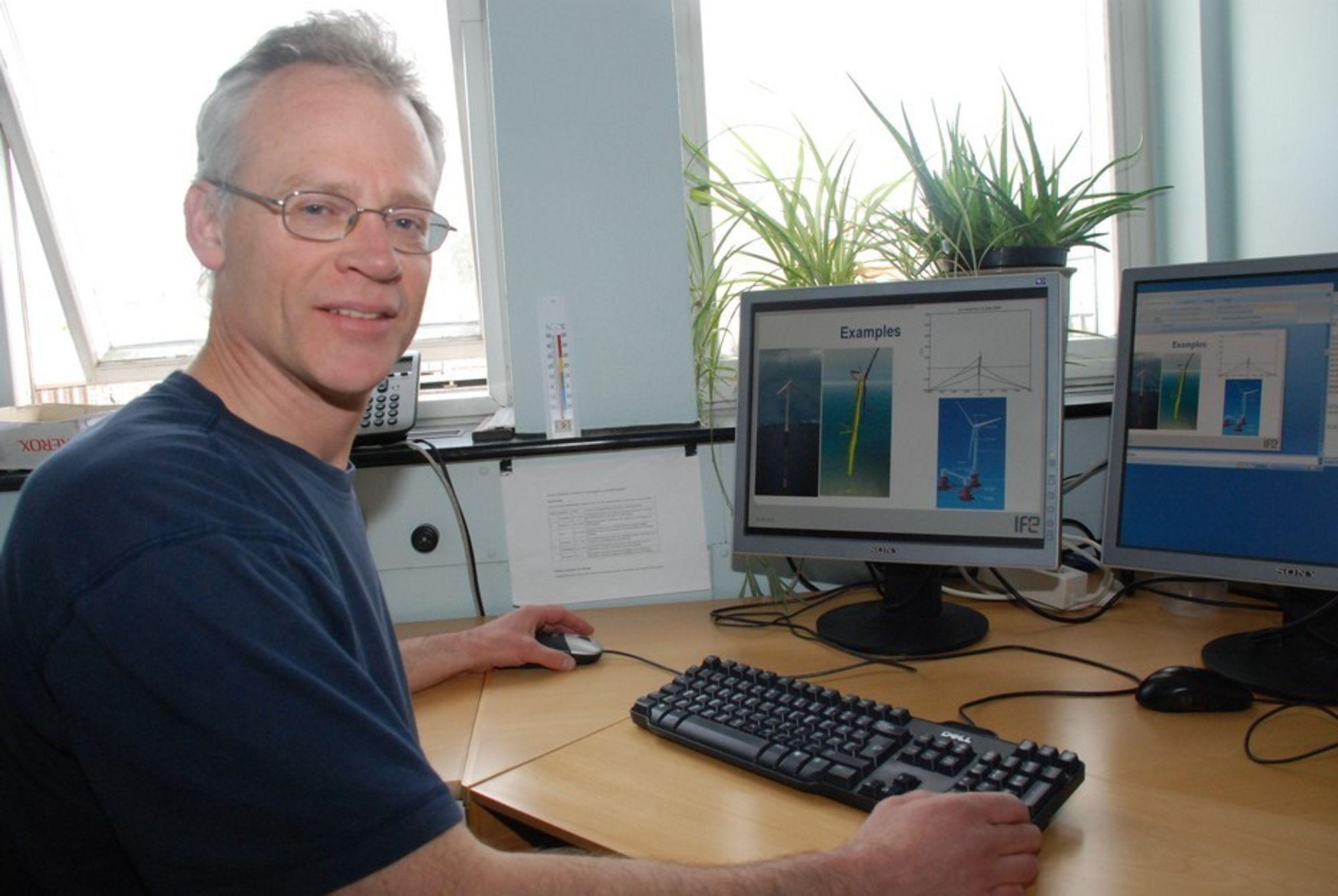 STÅLMENGDEN VIKTIG: - Jeg har veldig respekt for Hywind-piloten, det er et fint stykke ingeniørarbeide. Men hvis man skal ta scenariene for storskala utbygging av vindkraft til havs på alvor, er stålmengden viktig, sier professor Tor Arne Nygaard.