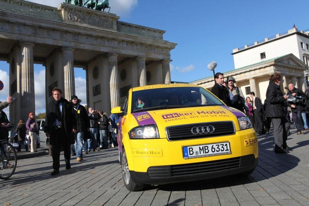 En ombygd Audi A2 med Kolibri-batterier ankom tirsdag morgen Berlin etter å ha kjørt 600 kilometer fra Munchen uten lading.