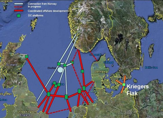 KART: Map from the Norwegian TSO, Statnett, showing a possible offshore grid development in the North Sea. The original map focuses only on the North Sea and does not include potential interconnectors outside this area. Existing interconnectors are not shown. Kriegers Flak has been included here for comparison.