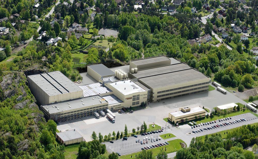 SATSER I  NORGE: Slik skal Jotuns nye toppmoderne malingfabrikk i Vindal se ut. Selskapet merker lite til nedgangstidene og bygger nå nye fabrikker i alle verdensdeler.