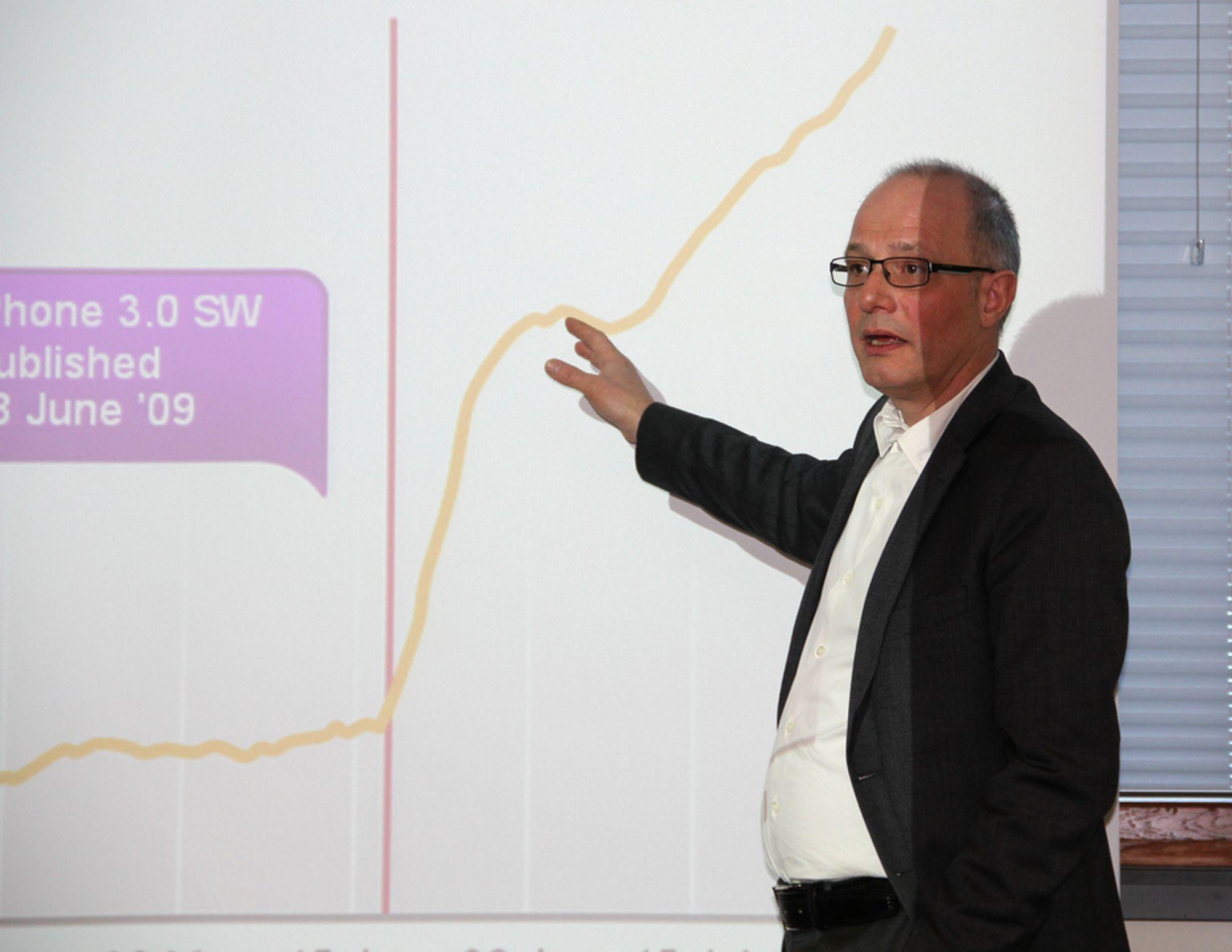 VIL FORLENGE BATTERILEVETIDEN: Sjefen for Nokia Siemens Networks i Norge, Finn Erik Hermansen vil bruke ny teknologi for å få lengre batterilevetid i smartmobiler.