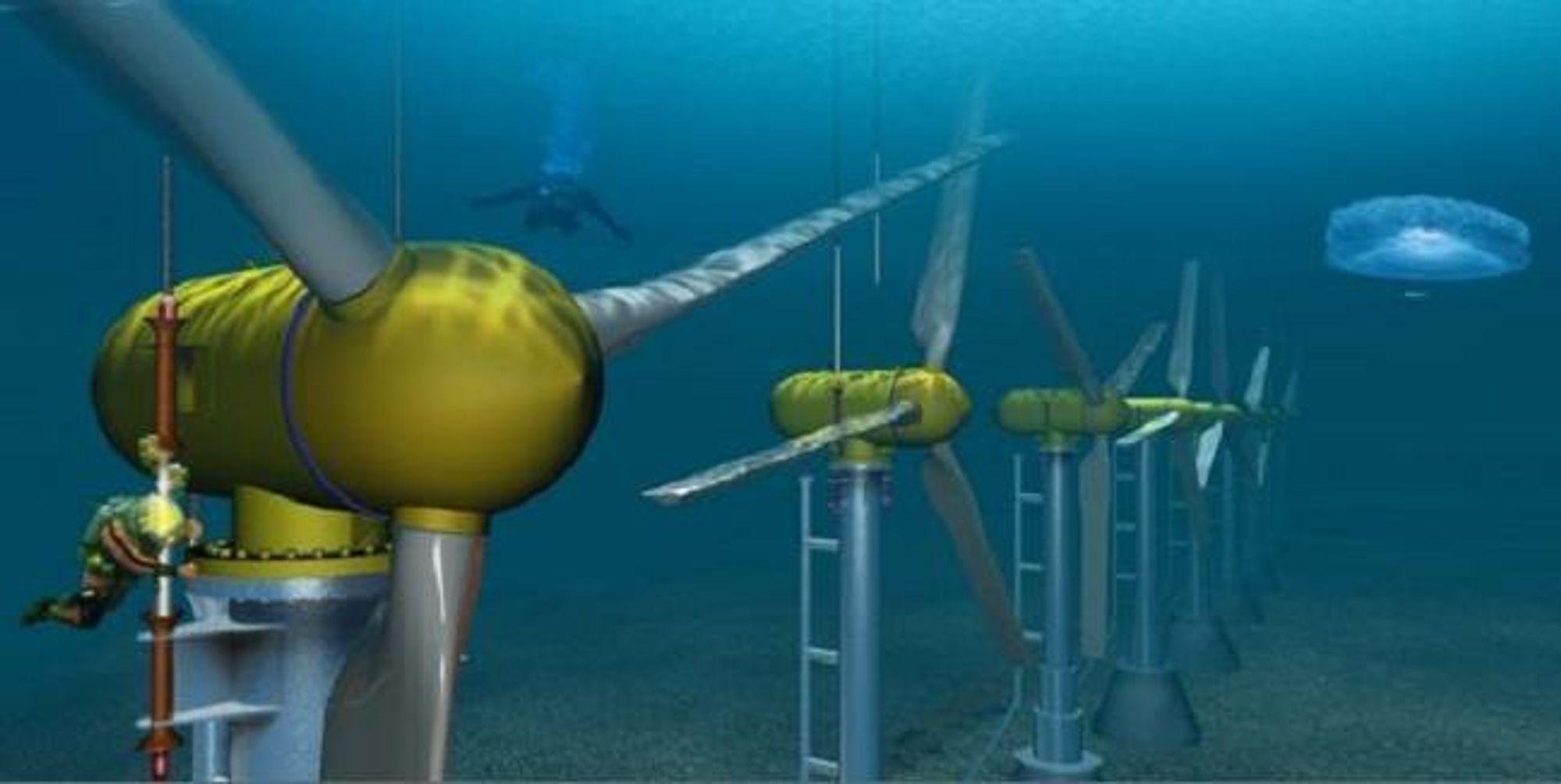 DOBBELT STØTTE: Høyre advarer mot å gi både elsertifikater og investeringsstøtte til umoden teknologi, fordi det kan forstyrre elsertifikatmarkedet slik at Norge ikke får sin andel av elsertifikatkaka. Illustrasjonen fra Hammerfest strøm viser en 1 MW tidevannsturbin.