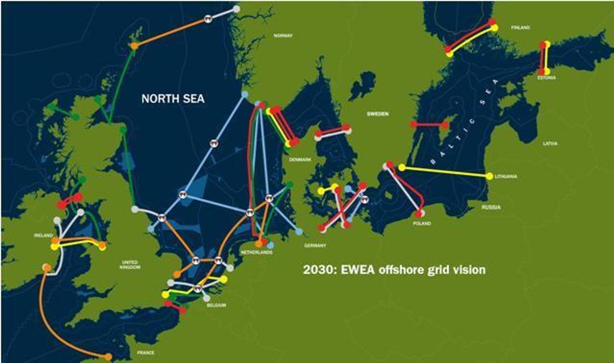 STORE KABELPLANER: Slik ser den europeiske vindkraftorganisasjonen EWEA for seg et framtidig nett av strømkabler i Nordsjøen og Østersjøen.