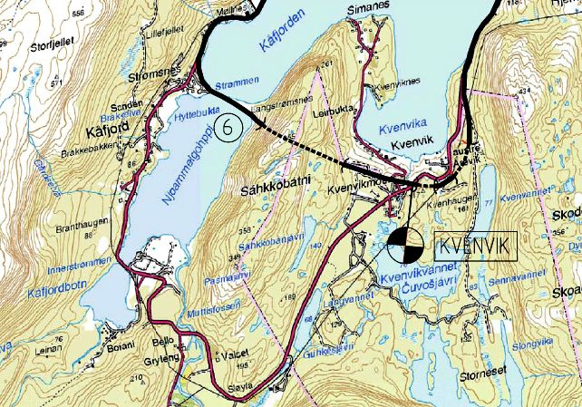 Den 1 195 meter lange Kåfjordtunnelen inngår i ny E 6 mellom Kvenvik og Møllenes. Når den åpnes i september 2012, blir vegen seks kilometer kortere.