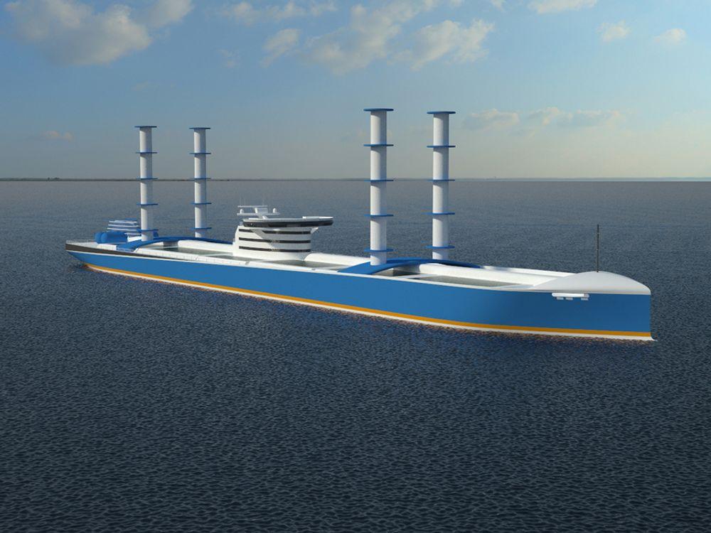VERDIFULLT: Slik kan et tankskip for frakt av vann se ut. Det drives av solceller, vind og bølger. Det går sakte og trenger kanskje militær eskorte?