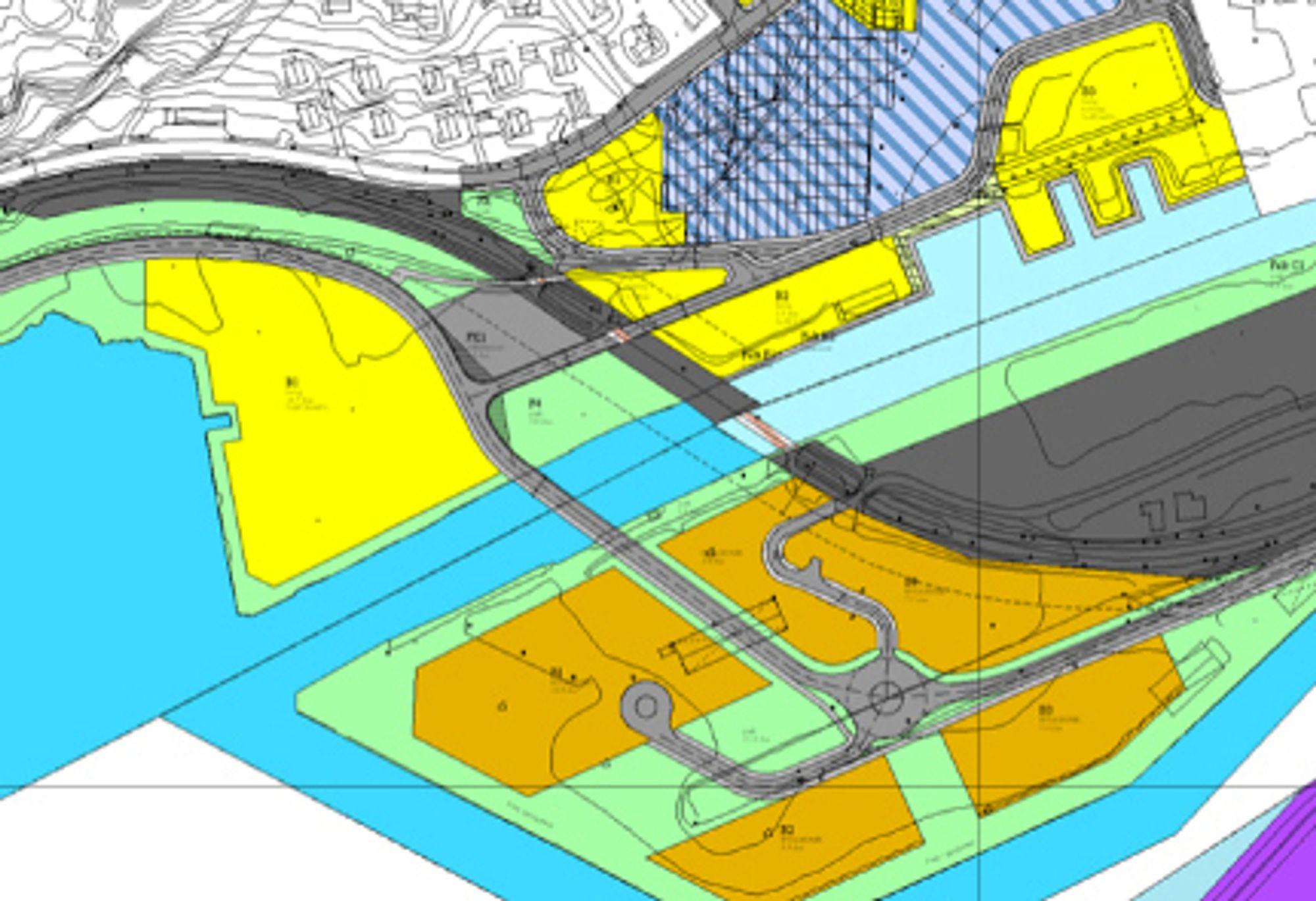 De gule og de oransje feltene er nye boligområder. I første omgang skal det gule feltet lengst til venstre bygges ut. De grå linjene mellom dem er det nye vegsystemet.