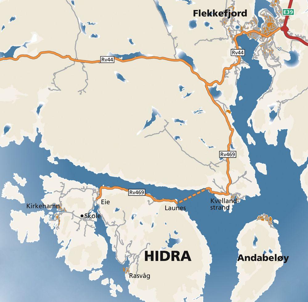 Multiconsult skal prosjektere Hidratunnelen som erstatter fergesambandet Kvellandstrand-Launes. Siden dette kartet ble laget har riksveg 469 blitt fylkesveg 469.