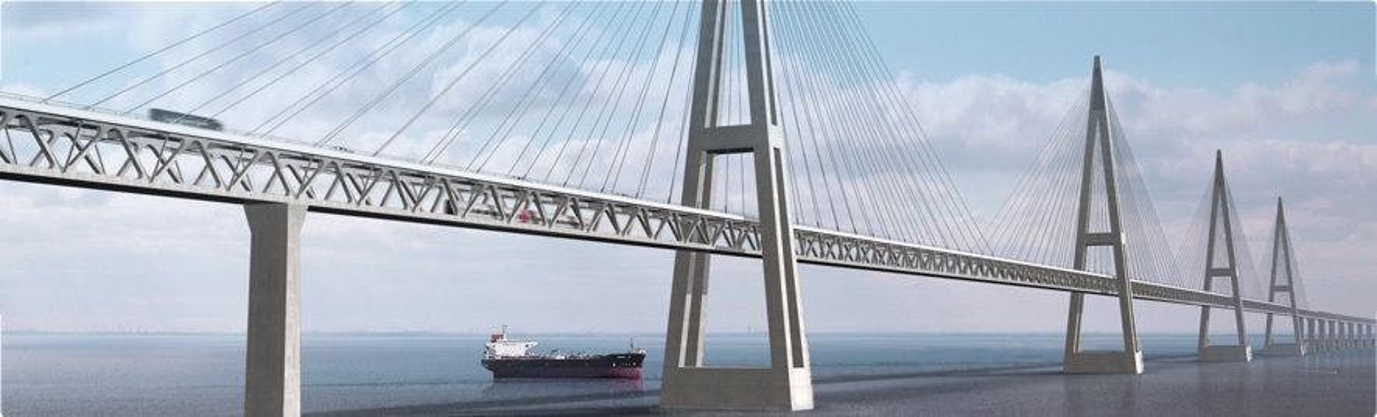 DYR BRO: Femernbroen mellom Danmark og Tyskland har økt i pris fra 33 til 38,5 milliarder danske kroner, mens en senketunnel på samme strekning har gått ned fra 41 til 37,9 milliarder kroner.