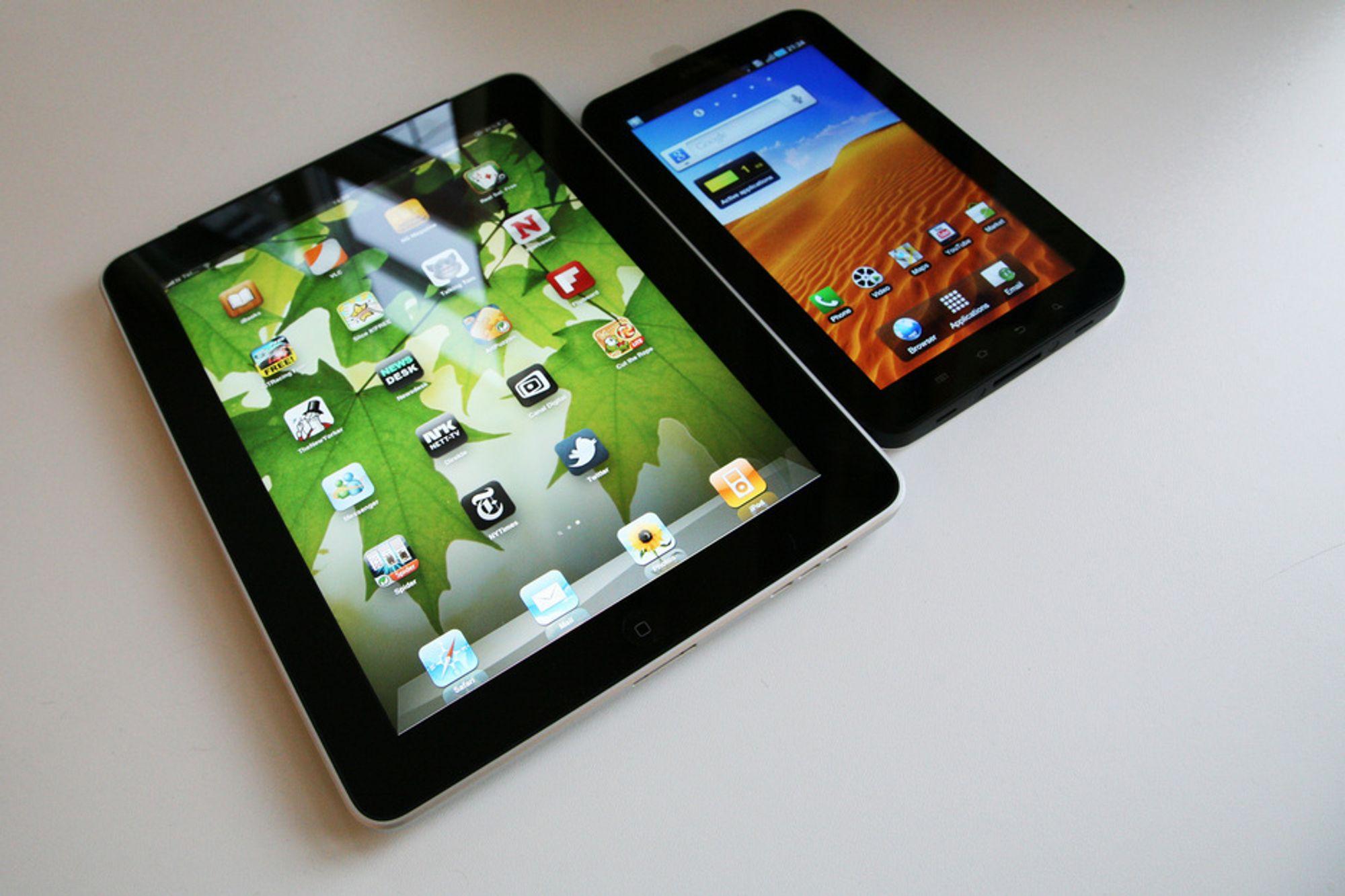 iPad har bare 2,7 tommer større skjerm enn Samsung Galaxy Tab, men i praksis utgjør det en stor forskjell.