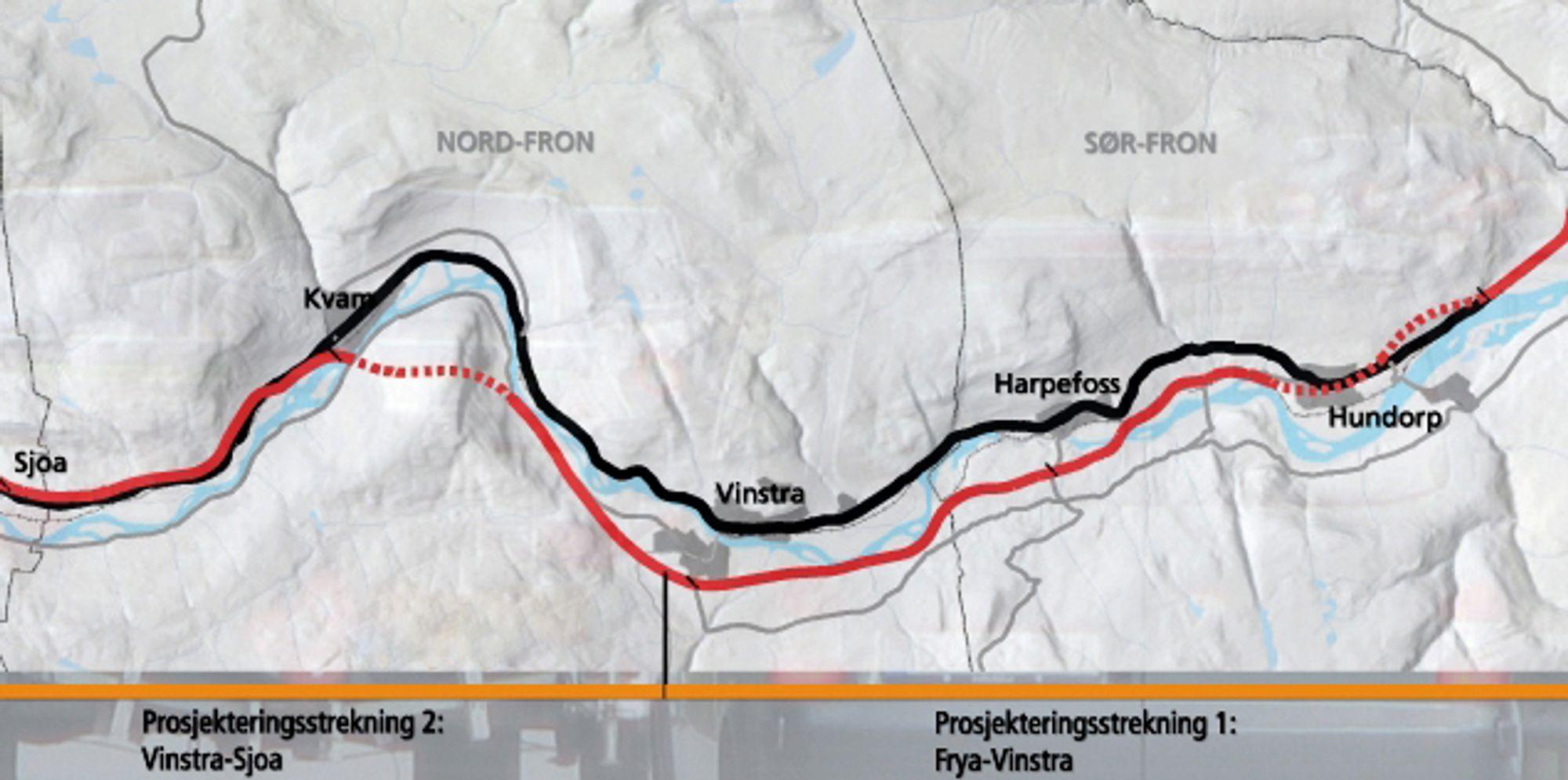 Den røde linjen markerer ny E 6. Kartet viser hele strekningen Frya-Sjoa. Anbudene som ble åpnet 6. desember gjelder bare strekningen Frya-Vinstra, som ligger til høyre for den vertikale streken nederst på kartet.
