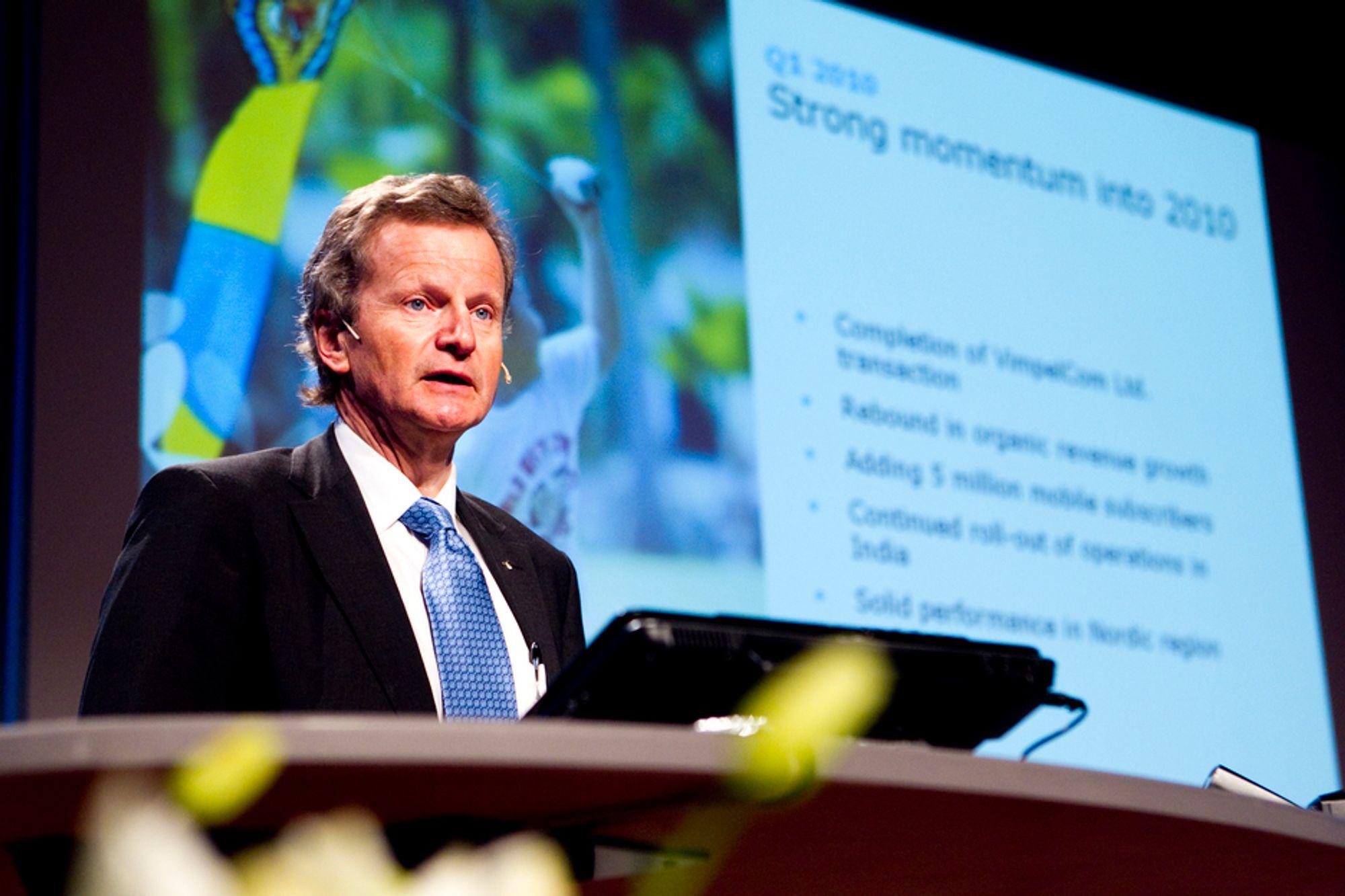 Konsernsjef i Telenor, Jon Fredrik Baksaas, kunne presentere et bedre resultat enn ventet etter første kvartal for 2010.