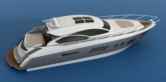 LYSTBÅT: Flere båtprodusenter er interessert i å bygge båter med ASV-teknikken. Slik kan en første 65-fots båt med luftlomme se ut.