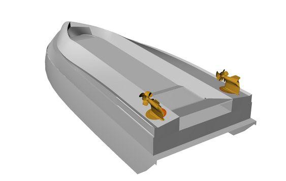 KLAFF: Slik ser ASV-båten ut under. Luftlommen fylles med vifte i forkant. En klaff i bakkant holder lufta under skroget. Litt lekkasje vil det være ved klaffen samt ved grov sjø.