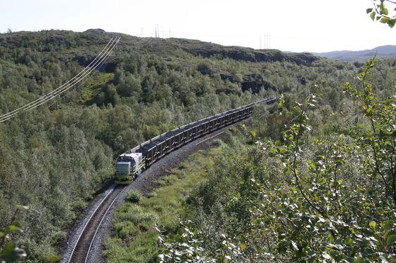 PÅ VEI NED: Toget er 225 meter langt og bruker 800 meter på å stoppe.